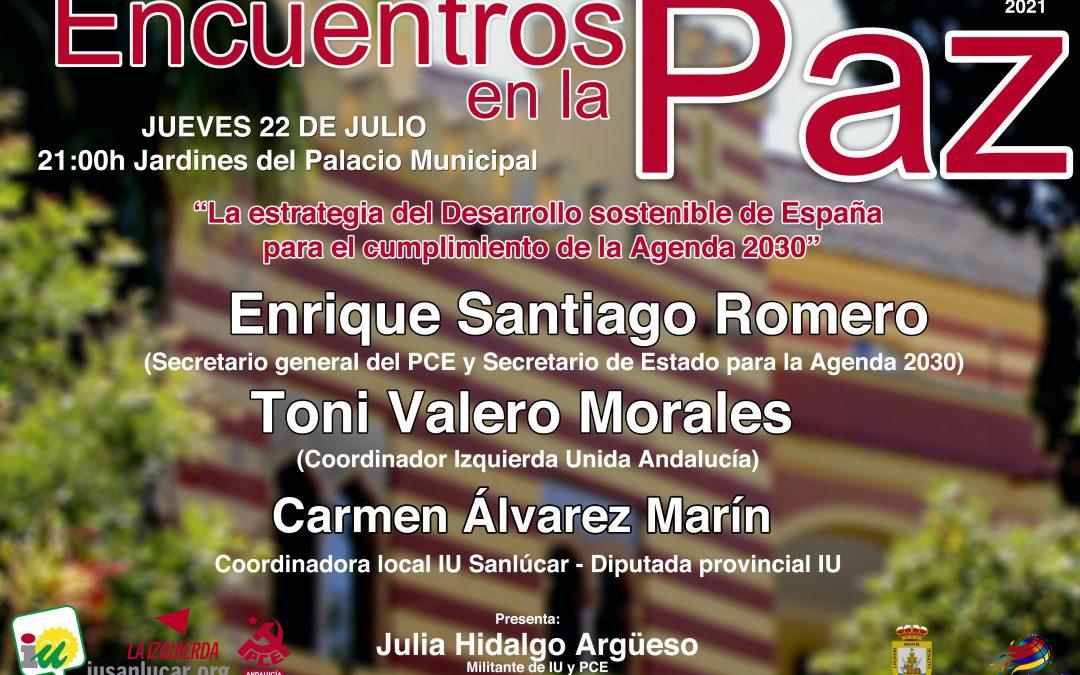 """Este jueves comienzan los """"Encuentros en la Paz"""" organizado por IU Sanlúcar"""